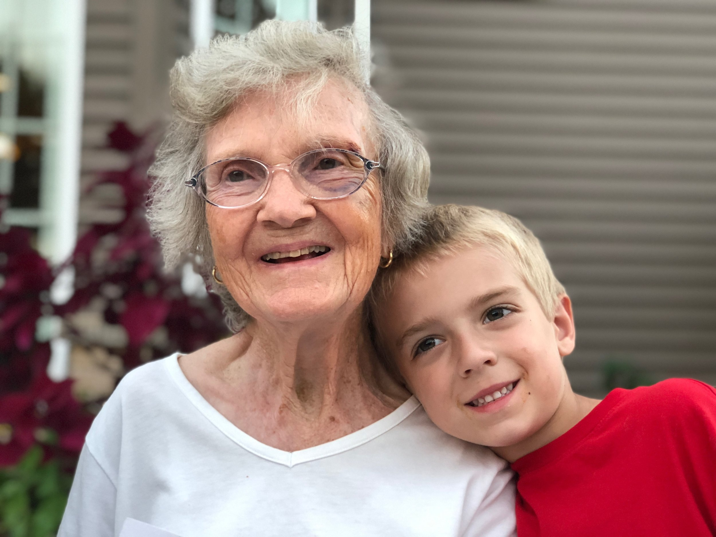 Aunt Ethel in 2018 on her 90th birthday with our son Zachary