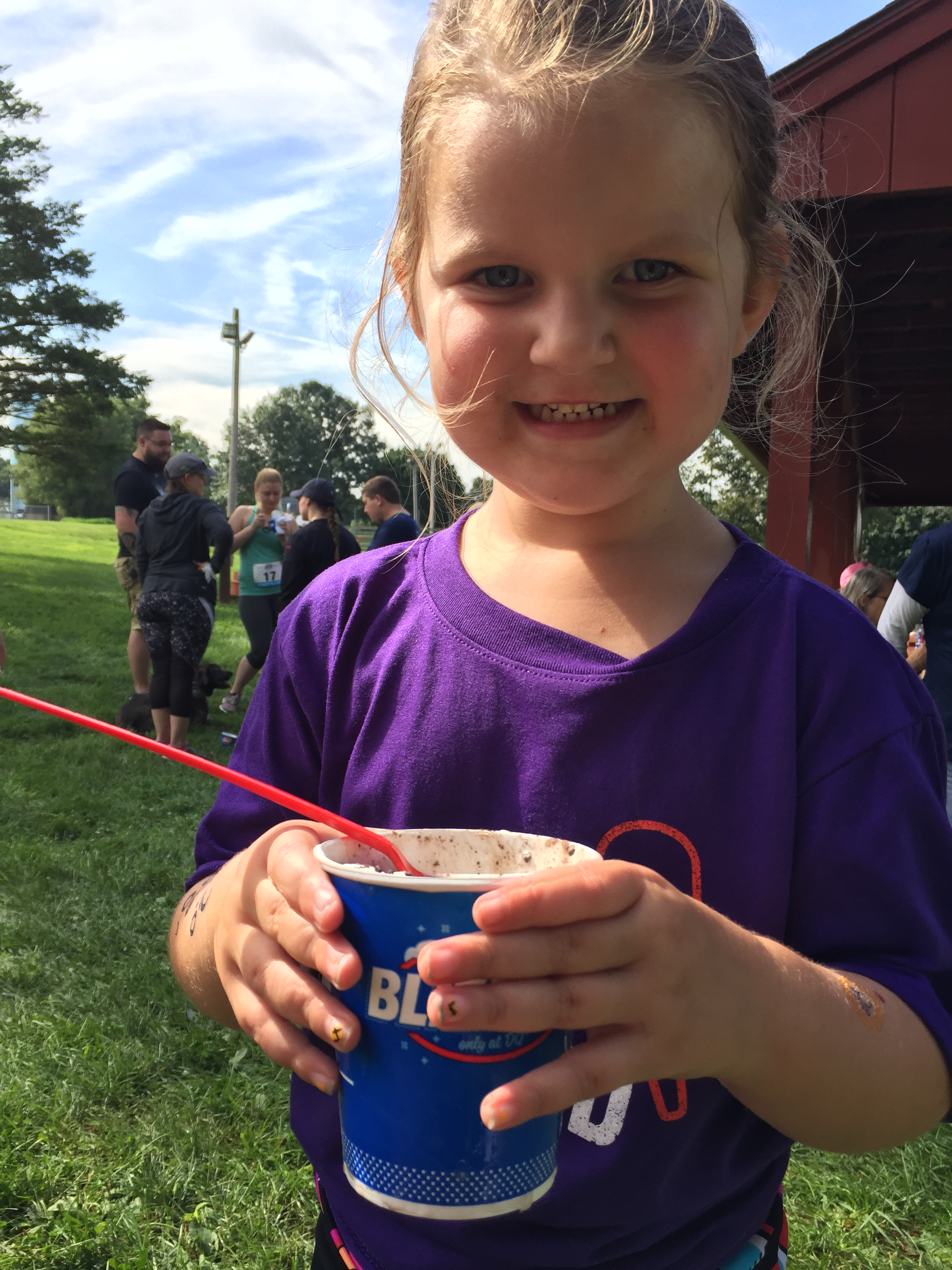 Maddie eating a Blizzard at Blizzard Run!