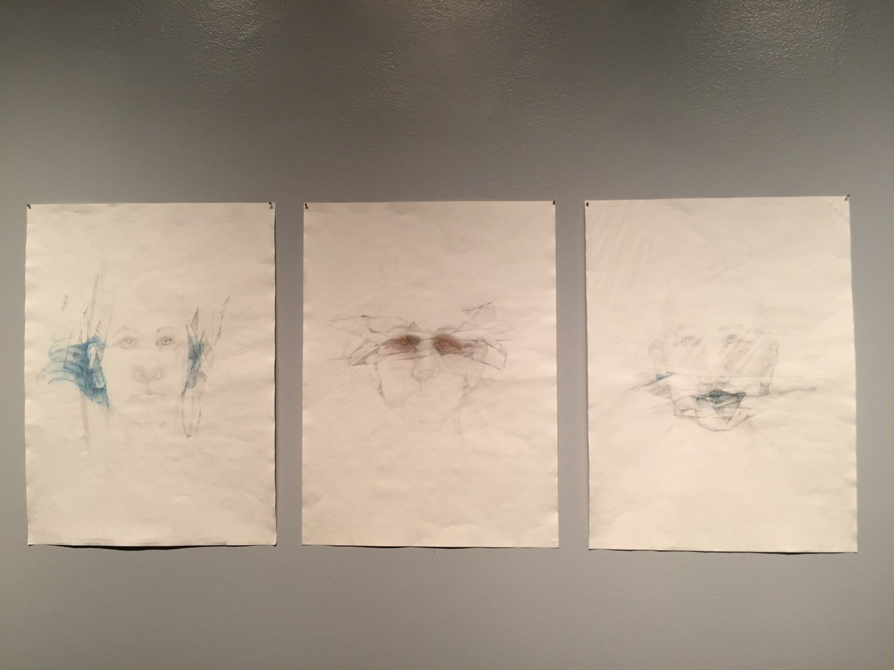 Hear. See. Say. No Evil.  Drawing triptych with graphite, ink pencil, stencils, water-based felt pen. SOLD.