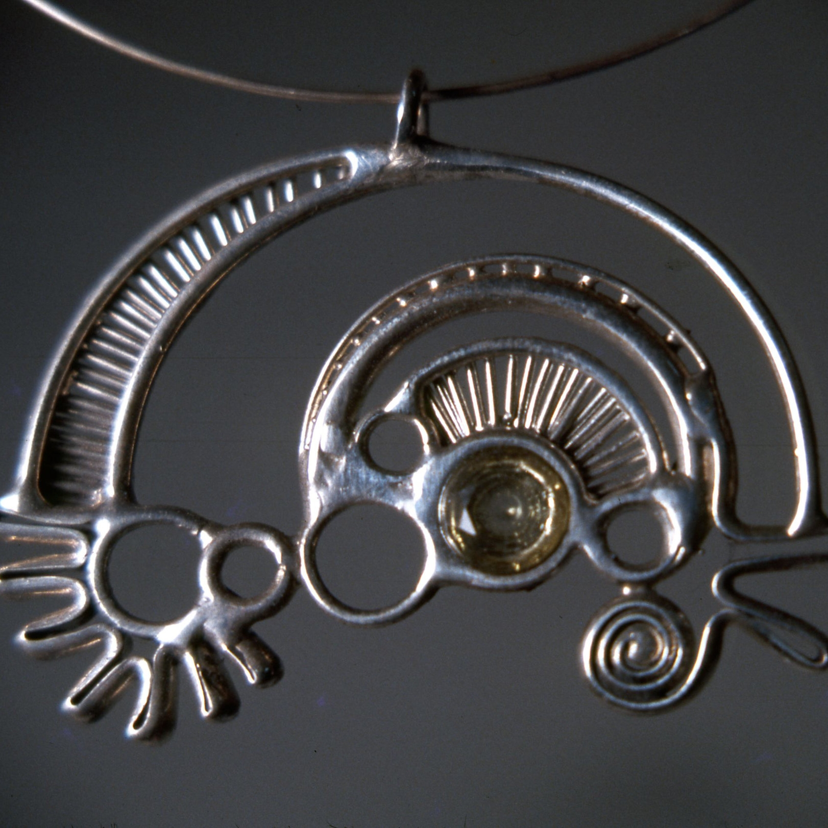 """Untitled"" by Michael Malpass, circa 1973-74. silver with gemstone jewelry. (photo: Tina Collella)"