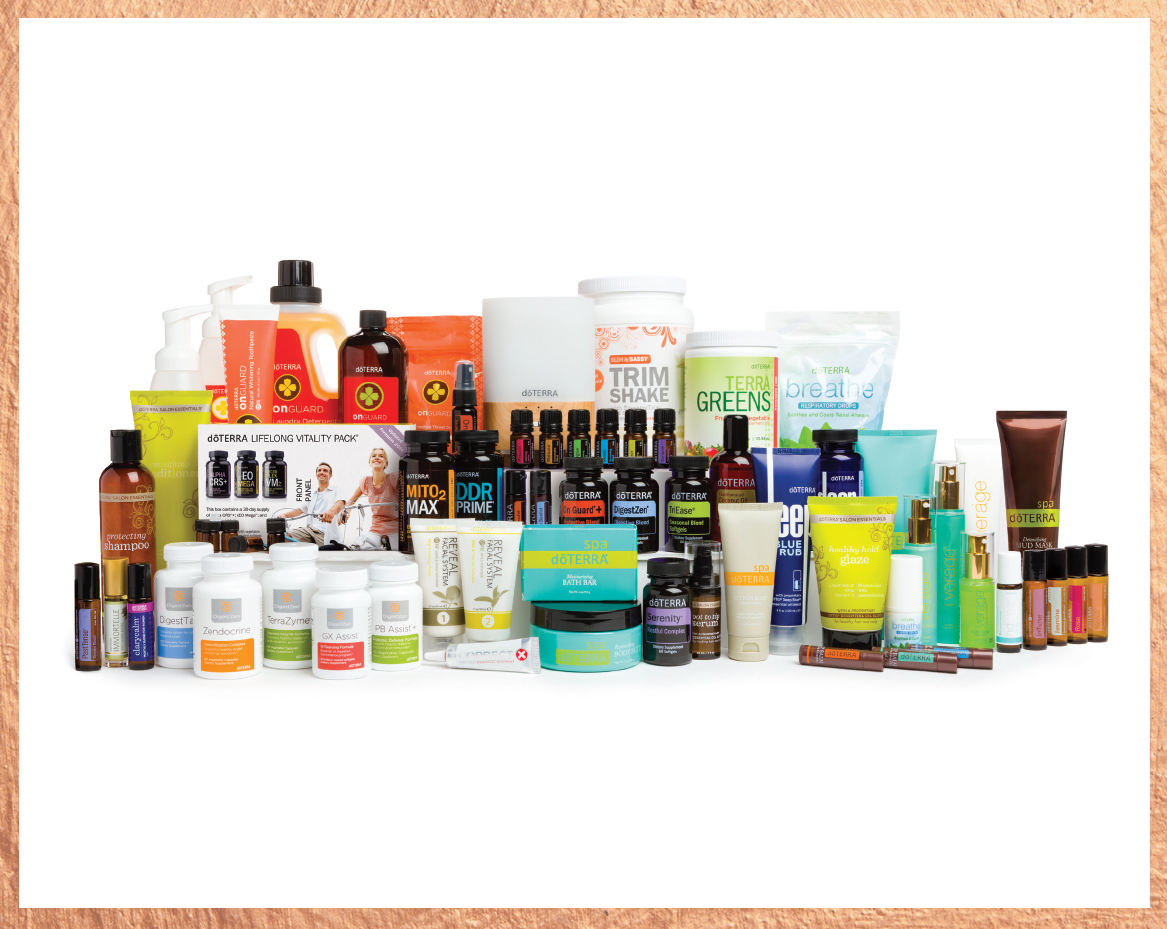 Every Oil Kit plus:    doTERRA ON GUARD® COLLECTION:  Beadlet Cleaner Concentrate Protecting Throat Drops Laundry Detergent Foaming Hand Wash w/2 dispensers Toothpaste doTERRA On Guard® + Softgels doTERRA On Guard® Sanitizing Mist   WELLNESS:  doTERRA Lifelong Vitality Pack® DDR Prime® Softgels Deep Blue Polyphenol Complex® DigestTab® Mito2Max® DigestZen® Softgels PB Assist®+ GX Assist® DigestZen TerraZyme® Zendocrine® Complex TrimShake (Vanilla) TerraGreens® TriEase® Softgels doTERRA Breathe® Vapor Stick doTERRA Breathe® Respiratory Drops doTERRA Serenity™ Restful Complex Softgels doTERRA SALON ESSENTIALS®: Protecting Shampoo Smoothing Conditioner Healthy Hold Glaze Root to Tip Serum   doTERRA   SPA:  Bath Bar Lip Balm-Tropical Lip Balm-Herbal Lip Balm-Original Hand & Body Lotion Body Butter Citrus Bliss Hand Lotion Mud Mask   PERSONAL CARE:  Correct-X® Reveal Facial System Veráge™ Skin Care Collection Deep Blue® Rub Peppermint Beadlet   ACCESSORIES:  ⅝ Dram Sample Vials (12 vials) doTERRA Essentials Booklet Rigid Oil Briefcase