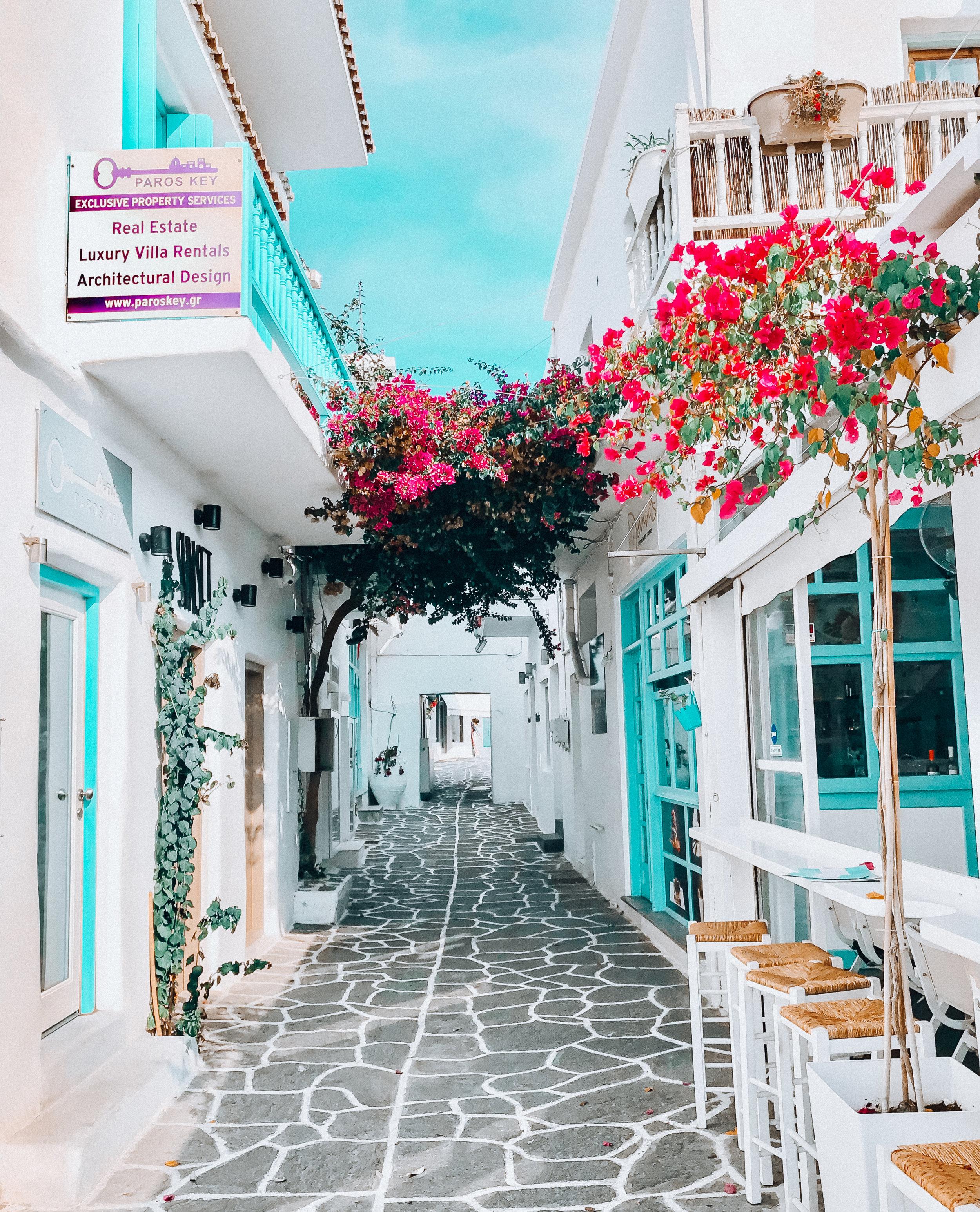side street in Naoussa in Paros, Greece
