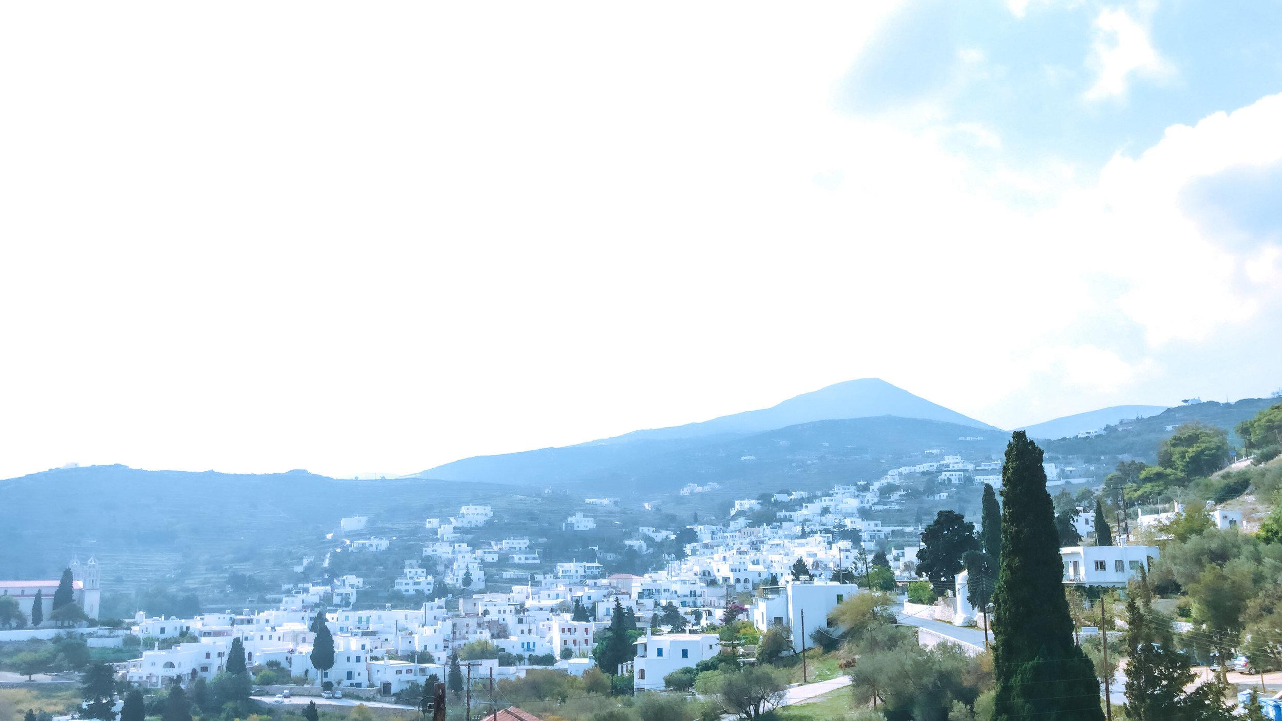 view of Lefkes- a mountain village on paros island, greece.