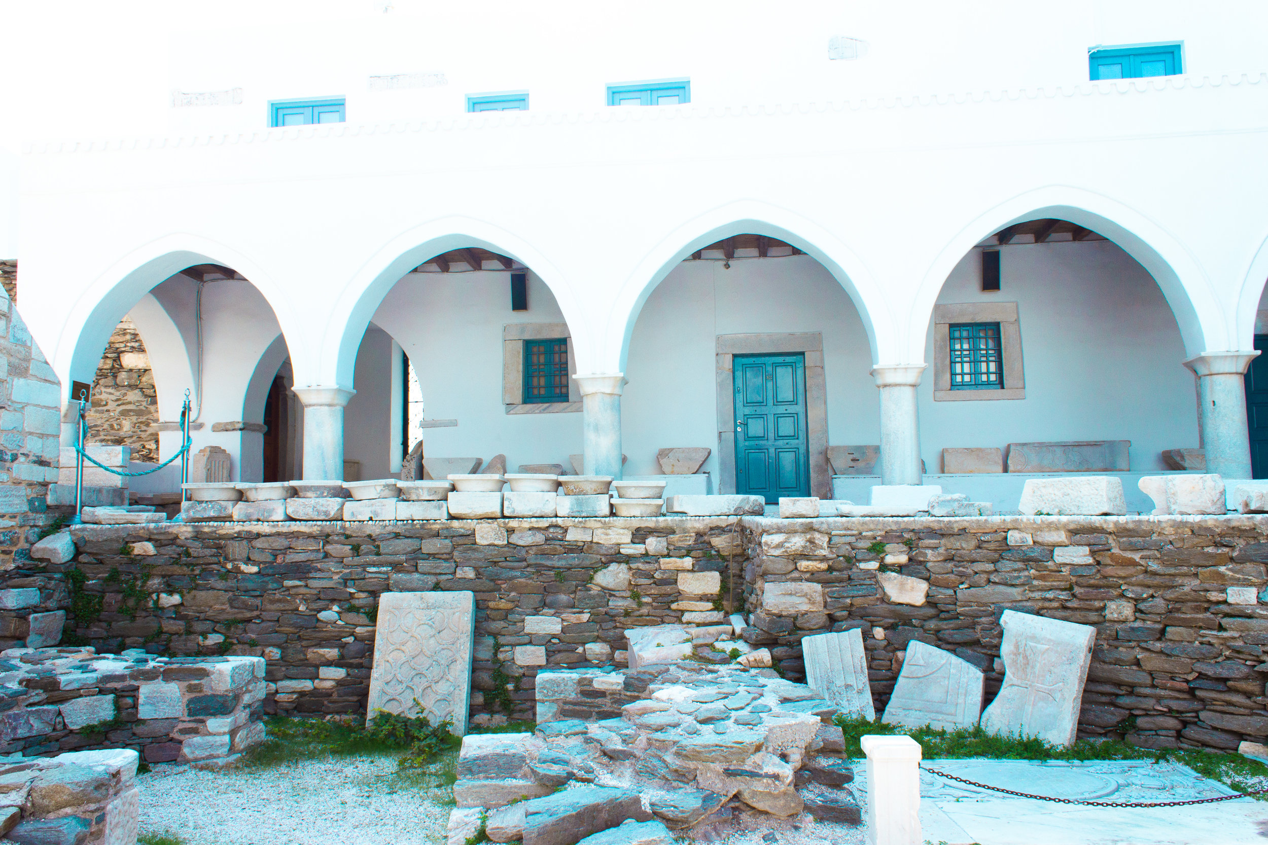 Inside the courtyard of the Church of 100 Doors