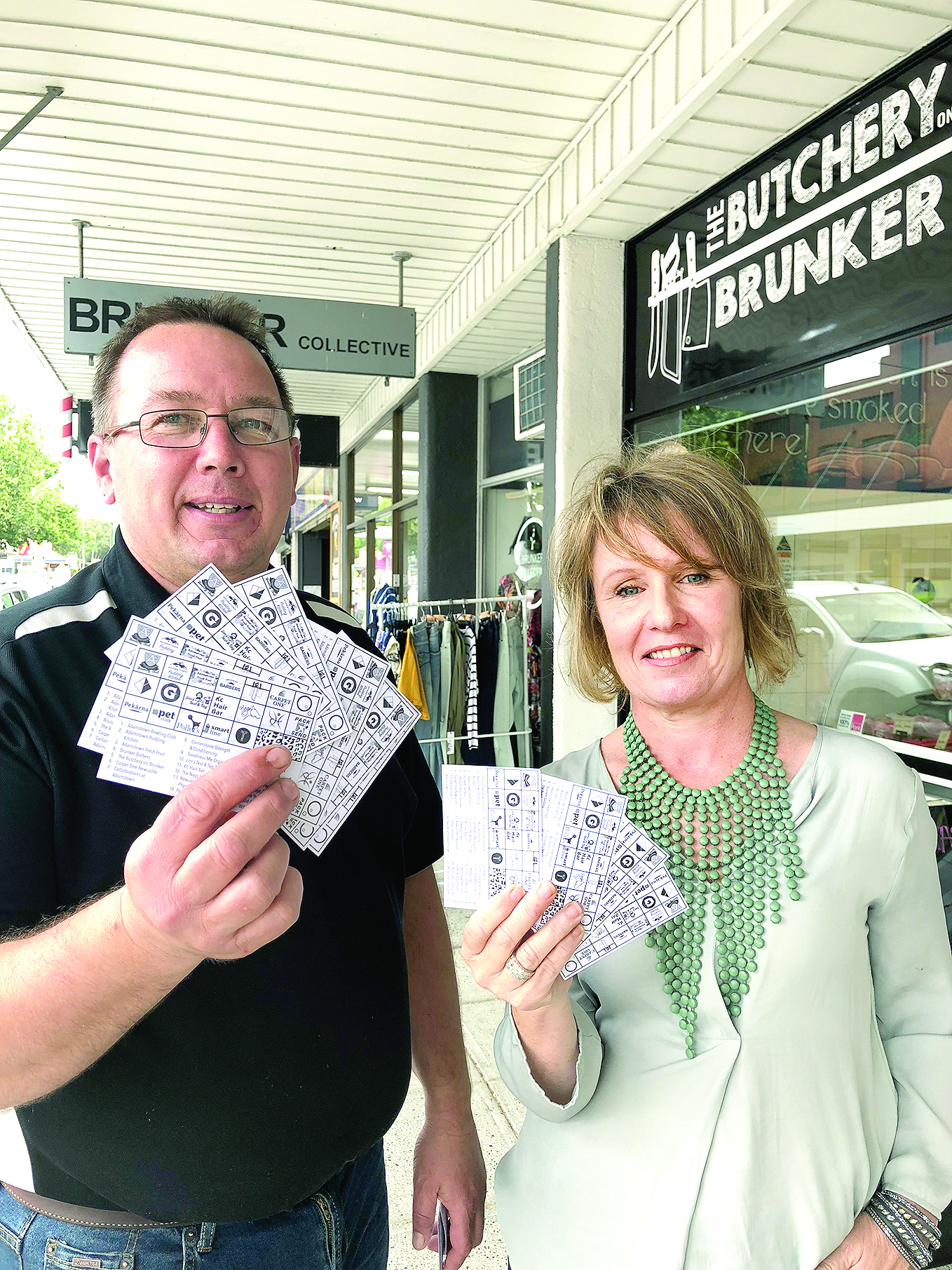 Rob Owen of The Butchery on Brunker and Sharon O'Rourke, secretary of Adamstown Business Group are keen to get bingo cards in to local shoppers hands