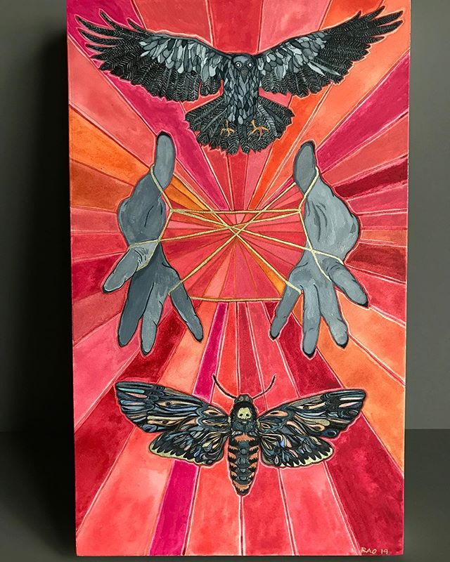 """The Chariot"" Gouache on Wood Swipe left for gold detail . . . #gouache #painting #og #tarotartist #illustration #tinydetails #thechariot #crow #catscraddle #deathmoth  #travelartist"