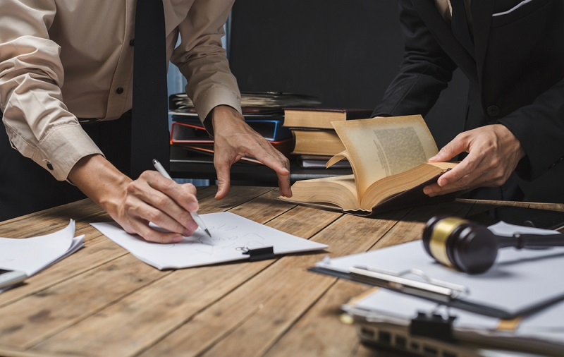 Lawyer with his documents on table