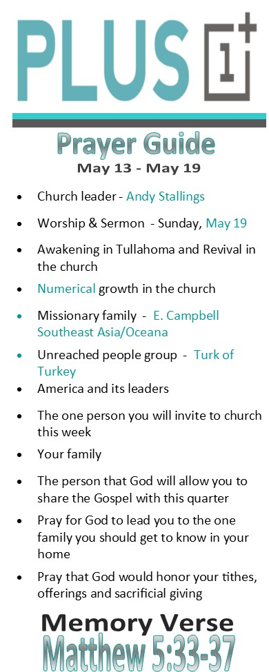 Plus 1 prayer guide — FBC Tullahoma