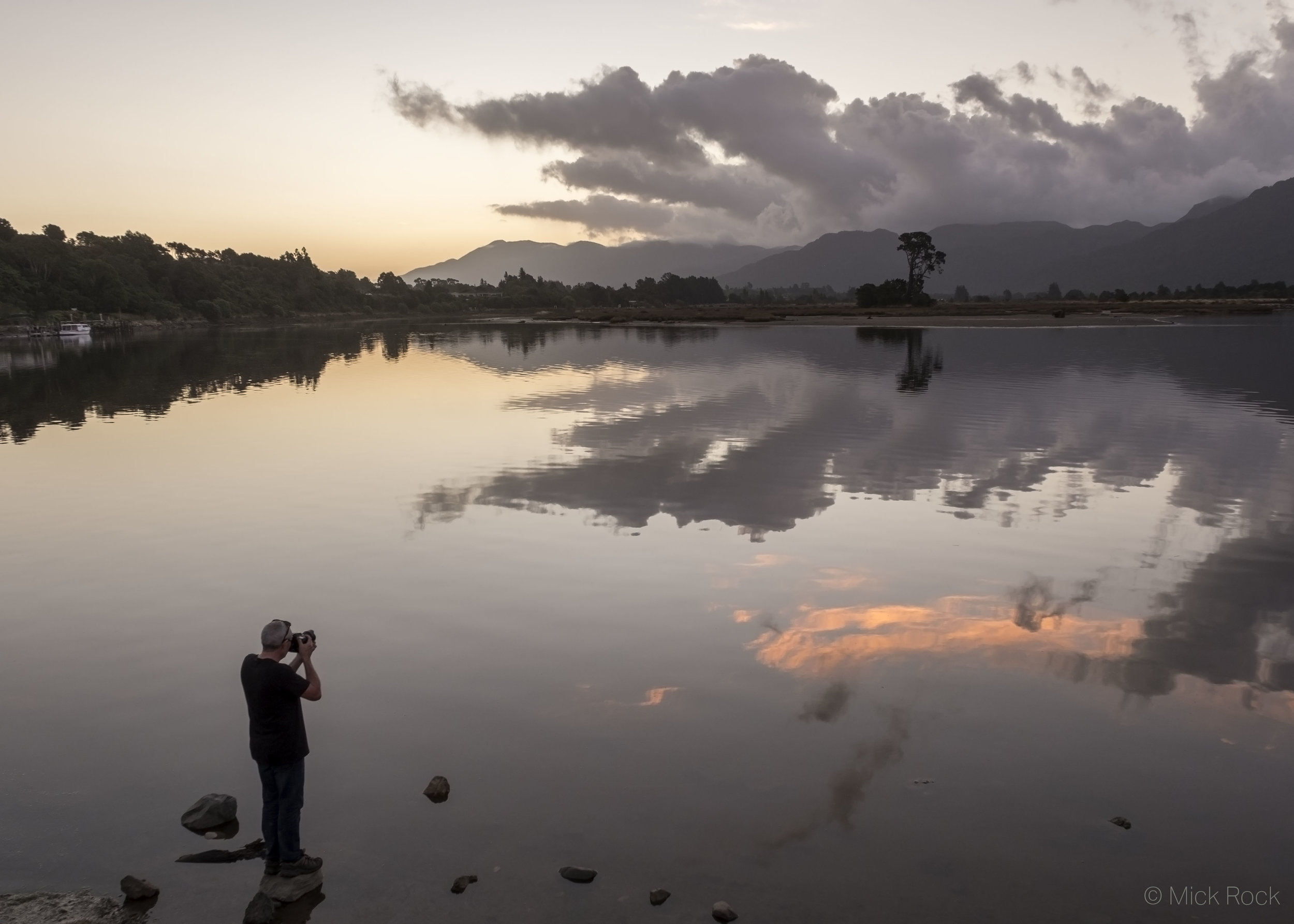 Sunset over the Aorere River Mouth with the Burnett Range in the distance, Collingwood, Golden Bay - image Mick Rock