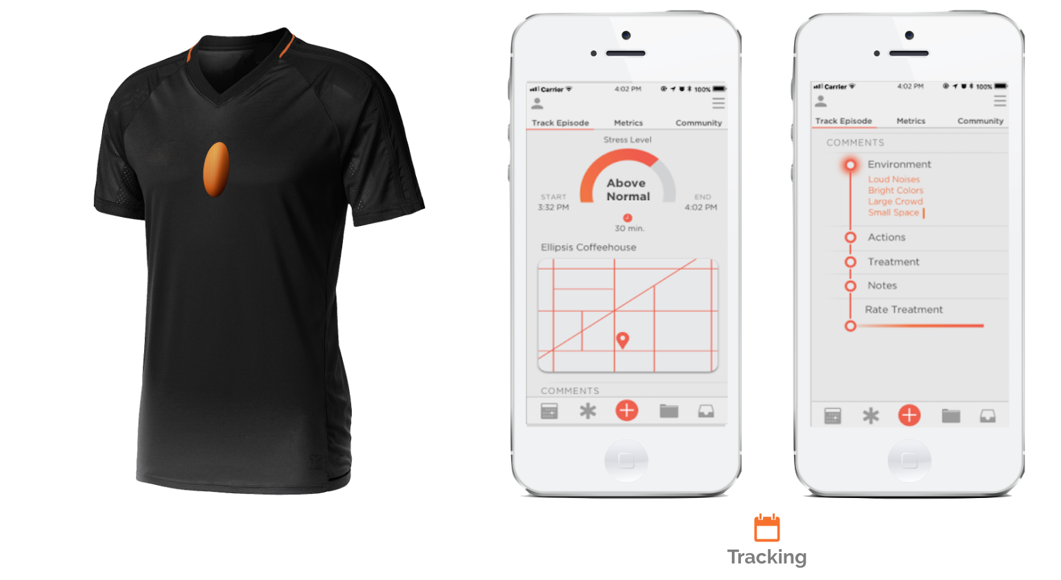 The future of meltdown prevention? Wearable Tech - Our intention is to create wearable smart apparel and an app system that monitors biometrics that are indicative of stress, wireless transmitting data to our associated app for early detection and notification of meltdowns. Now when a meltdown occurs, an alert is sent to the child's parent and any other caregivers as well as Alec of the the impending event.