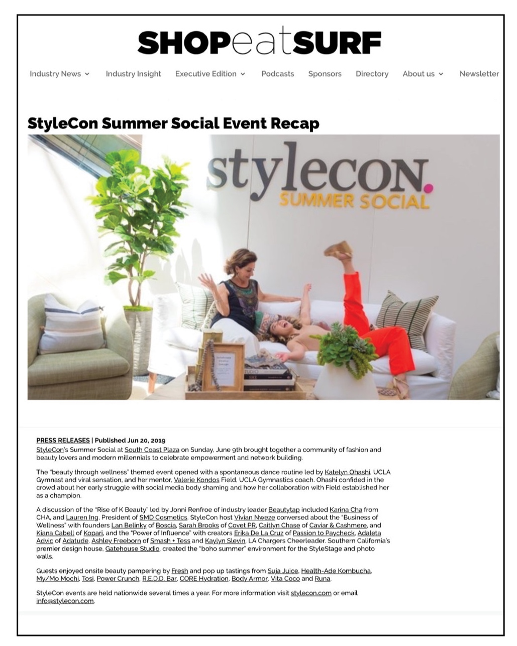 Shop Eat Surf , June 2019  StyleCon Summer Social Event Recap