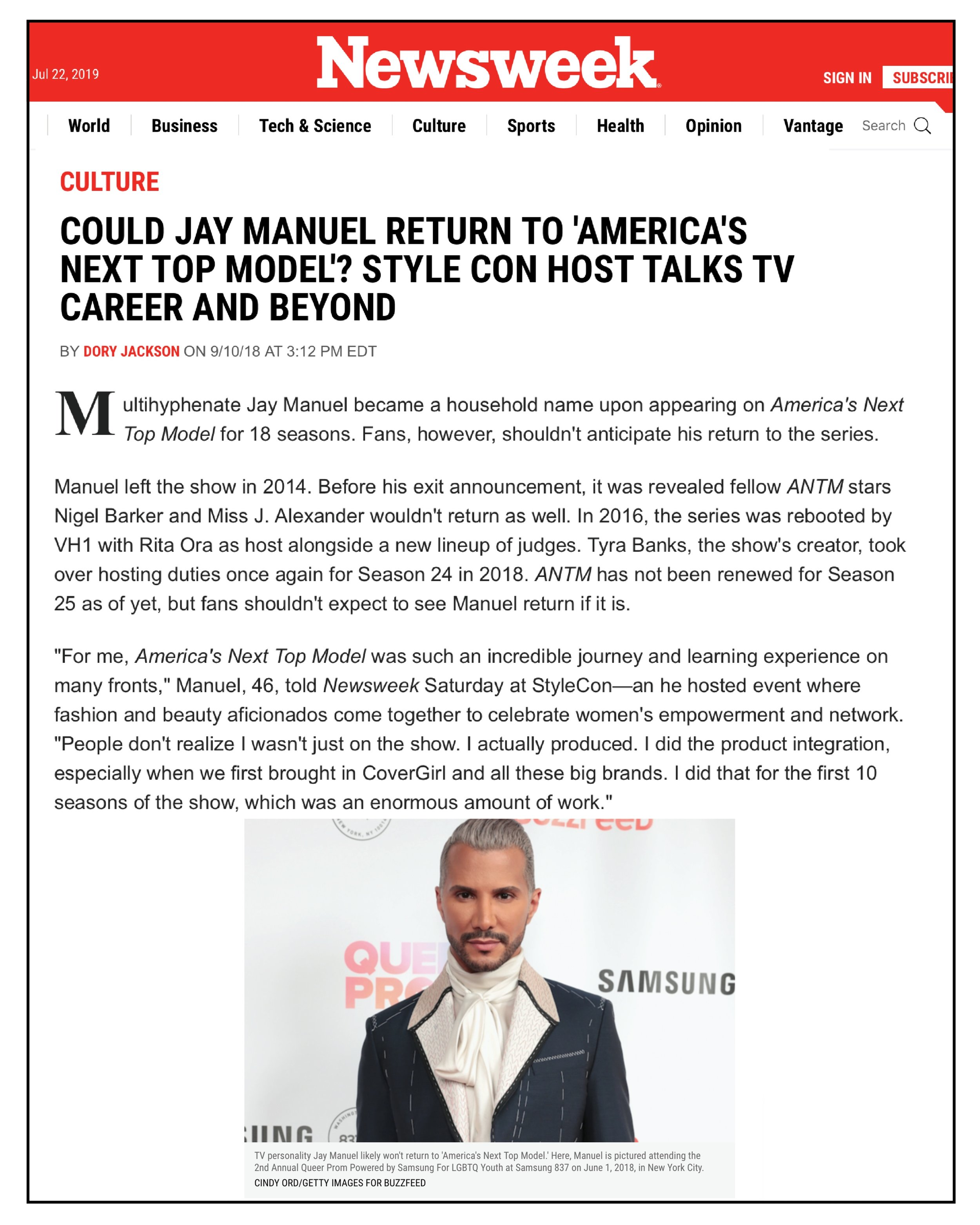 NewsWeek,  September 2018  StyleCon Host talks TV Career and Beyond
