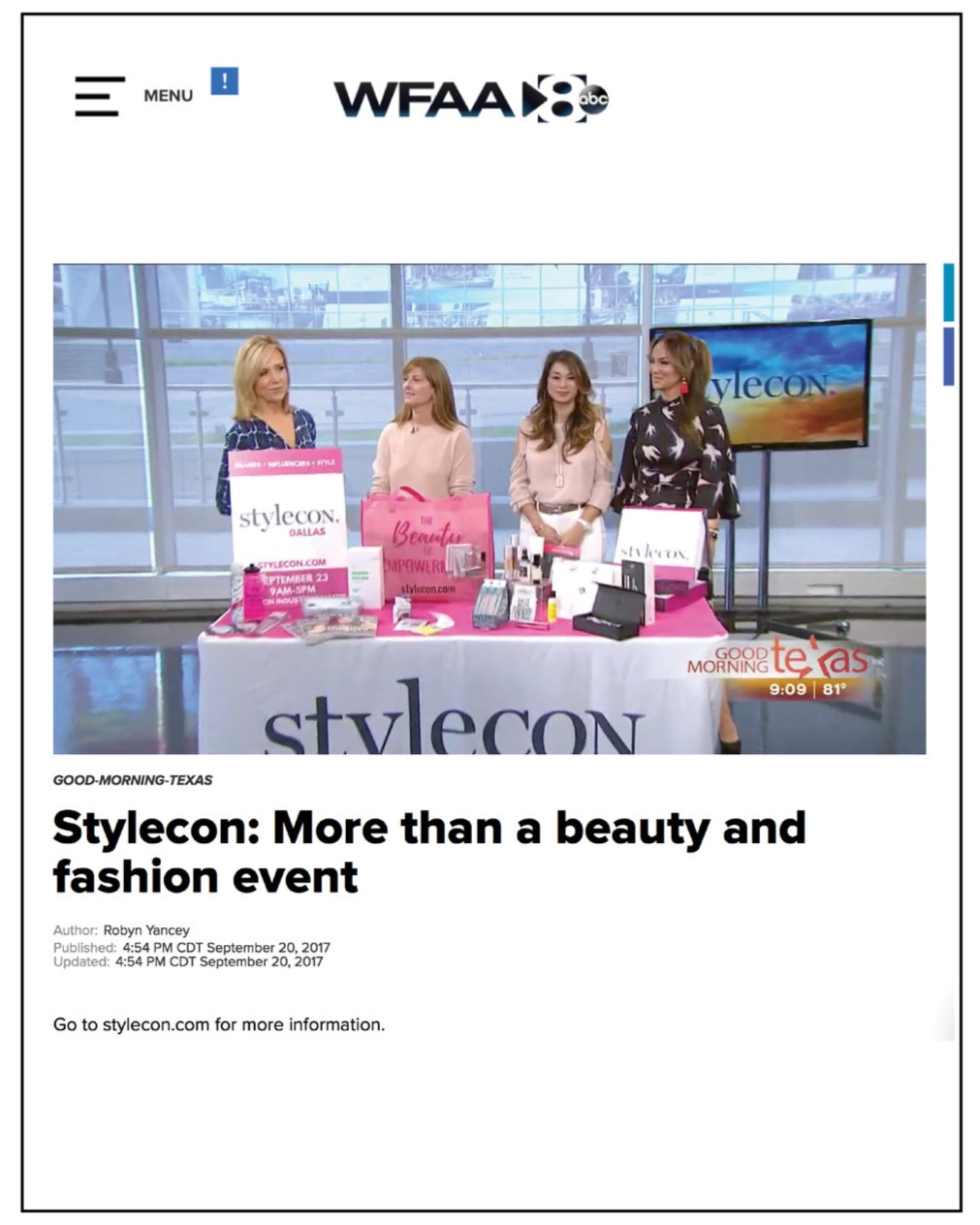 WFAA8 ABC,  September 2017  StyleCon: More than a beauty and fashion event