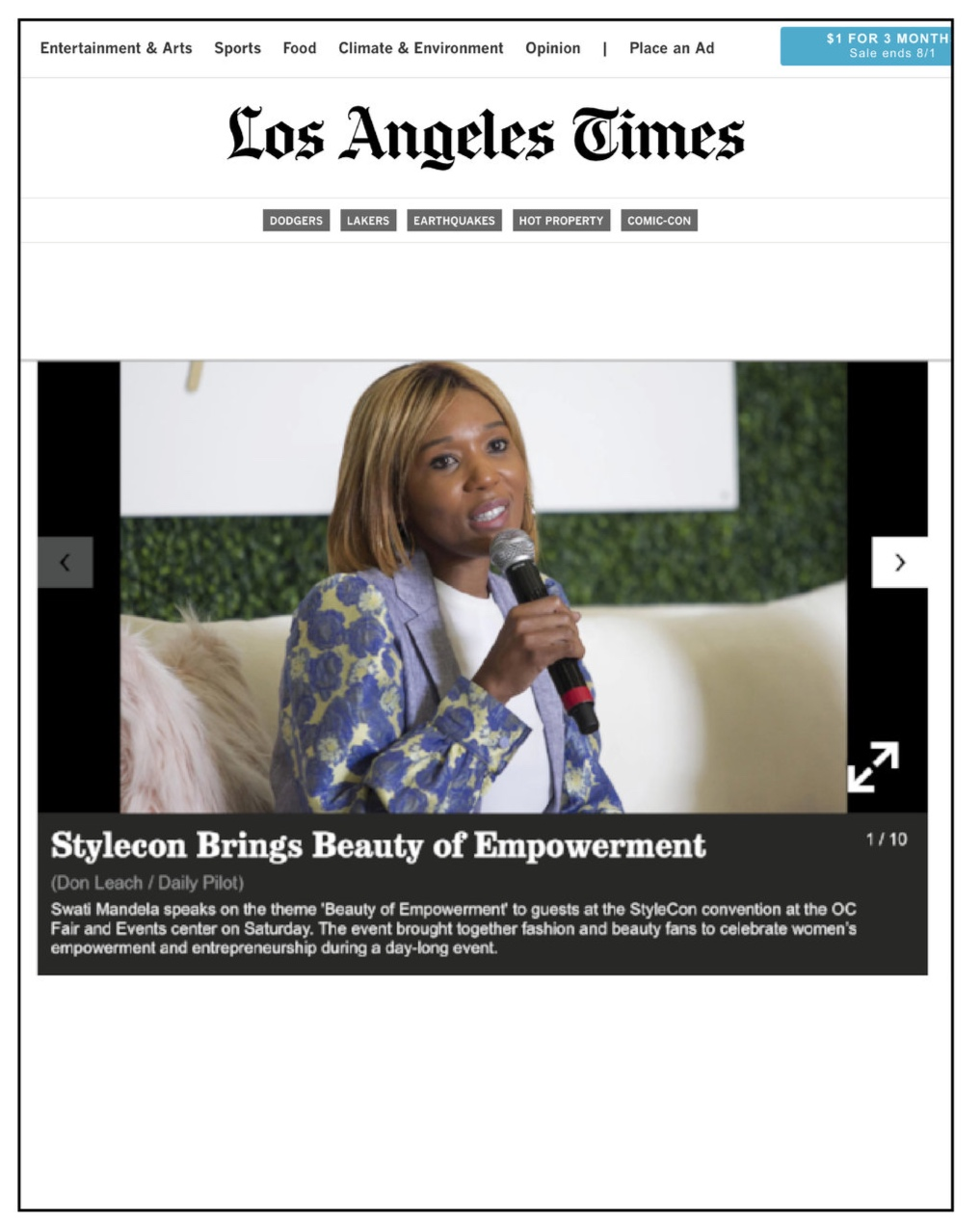Los Angeles Times,  September 2017  StyleCon Brings Beauty of Empowerment