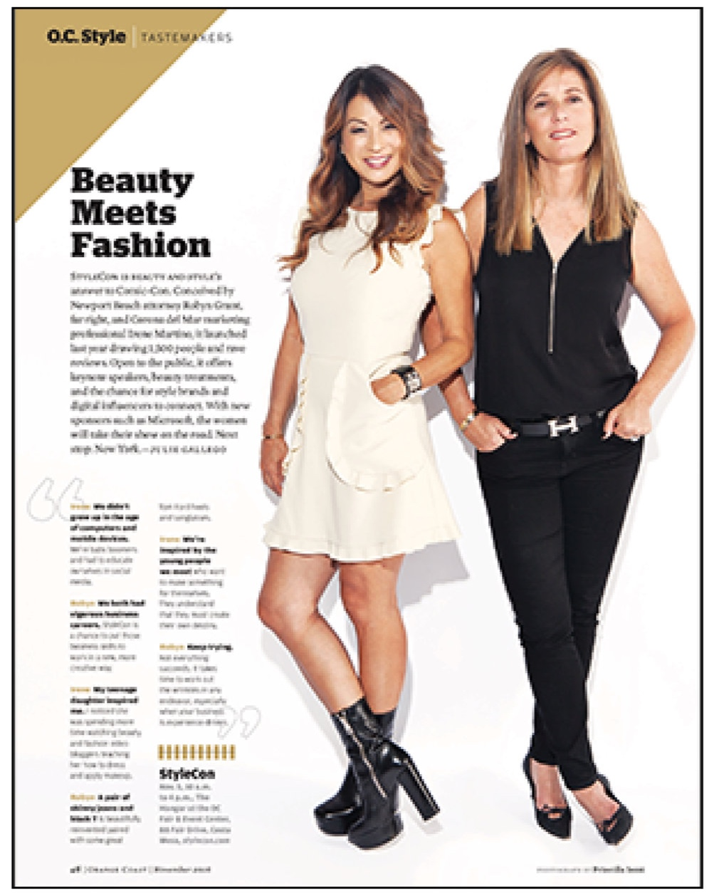 Orange Coast Magazine,  November 2016  Beauty Meets Fashion