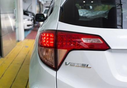 Rear LED lights with chrome emblem