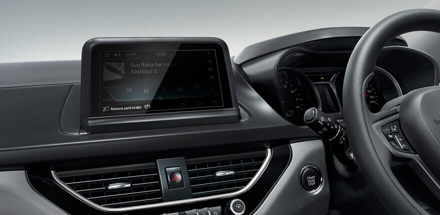 The highlight of the interiors is this 6.5-inch free standing touchscreen infotainment system developed by Harman