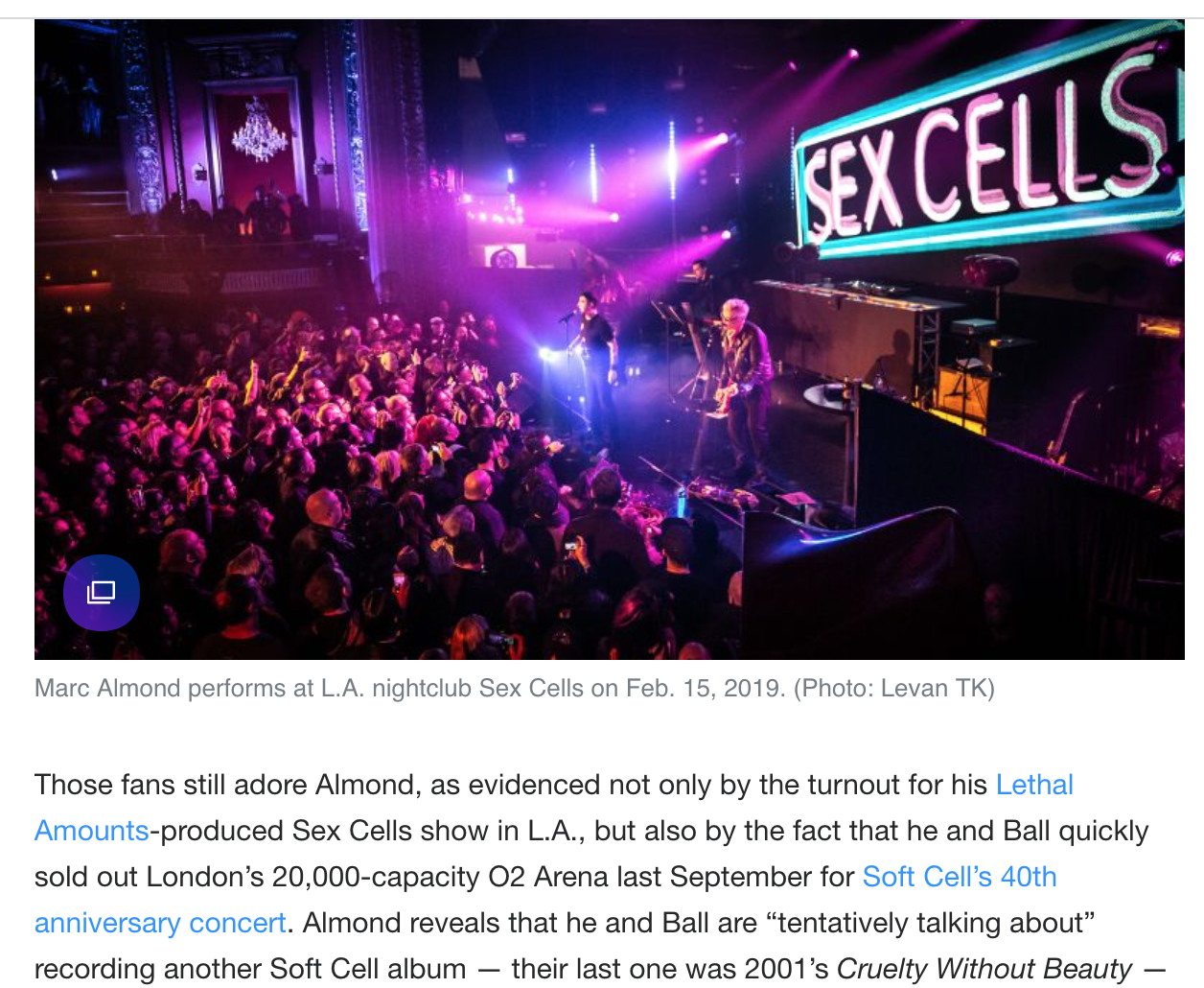 YAHOO! NEWS - Lethal Amounts' Sex Cells 2 year anniversary and Marc Almond performance