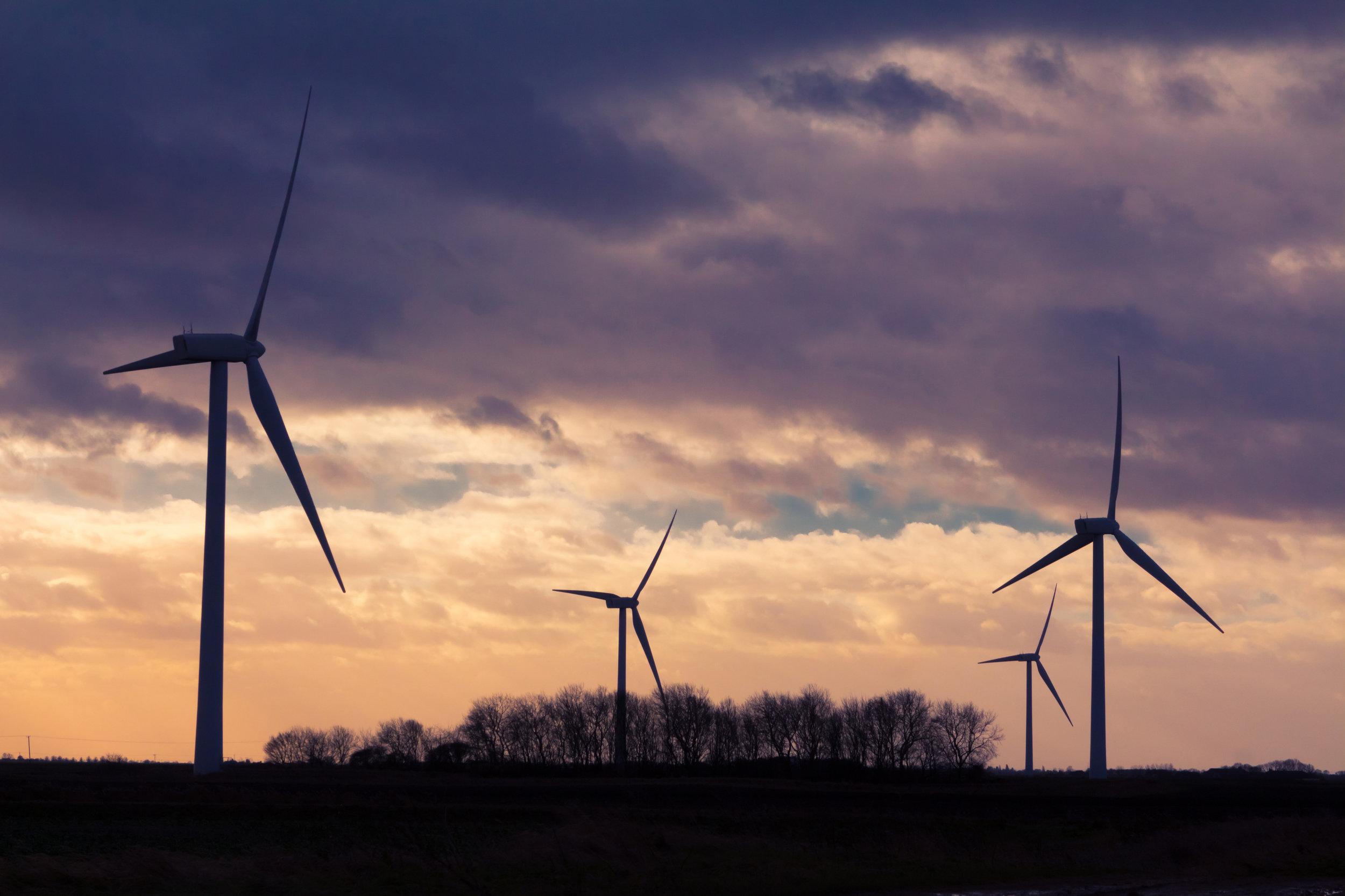 A wind farm providing sustainable energy