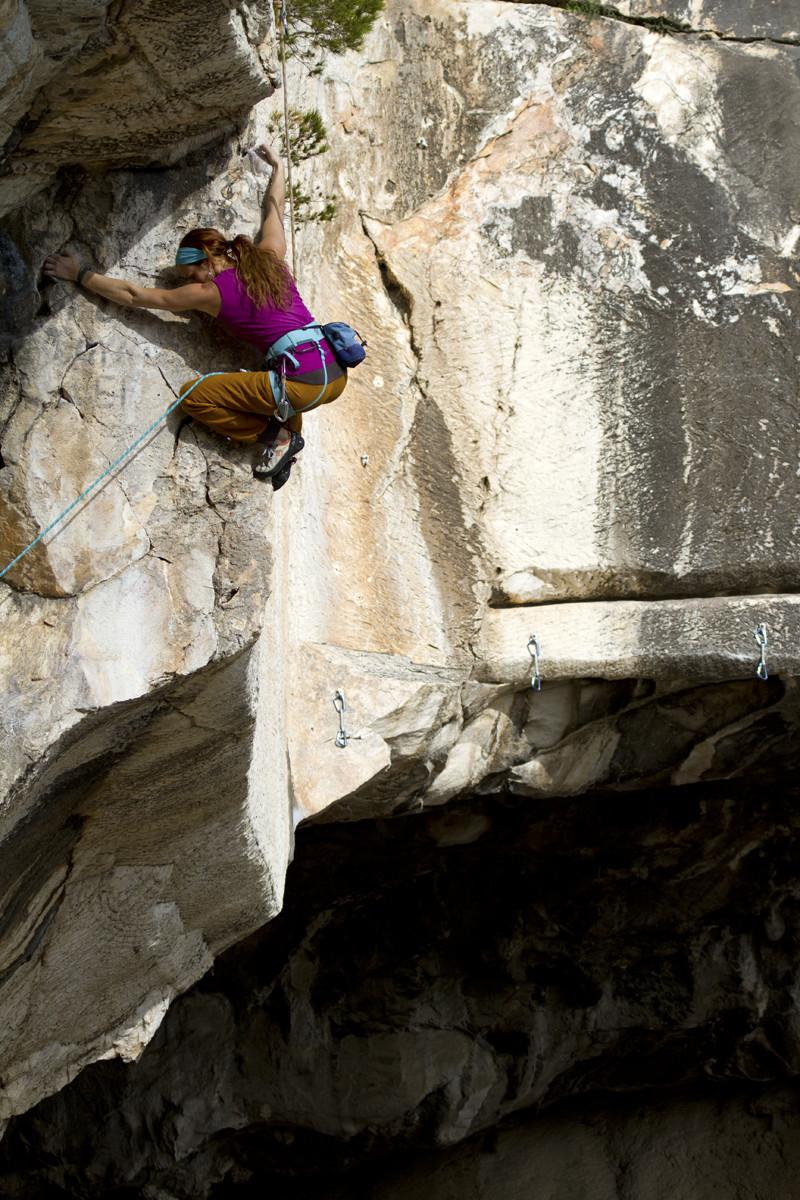 Climbing on marble in Spilia Daveli.