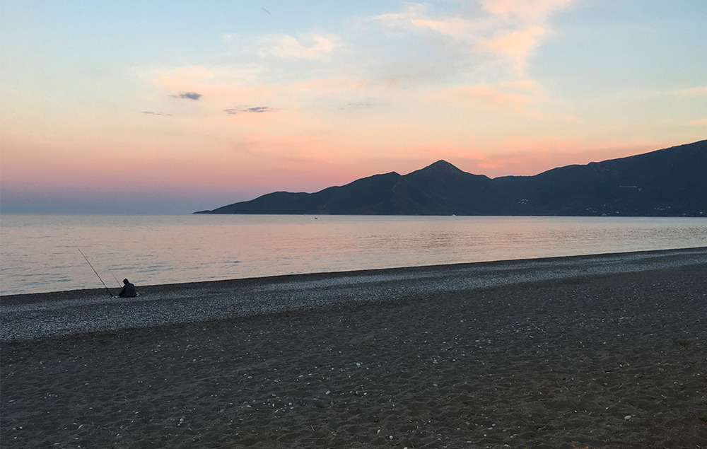 Beautiful beach close to Leonidio offers a perfect place for a rest day.