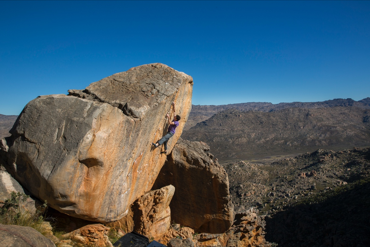Paul Robinson on first ascent of The Tanooki Myth V11/8A in Driehoek, South Africa