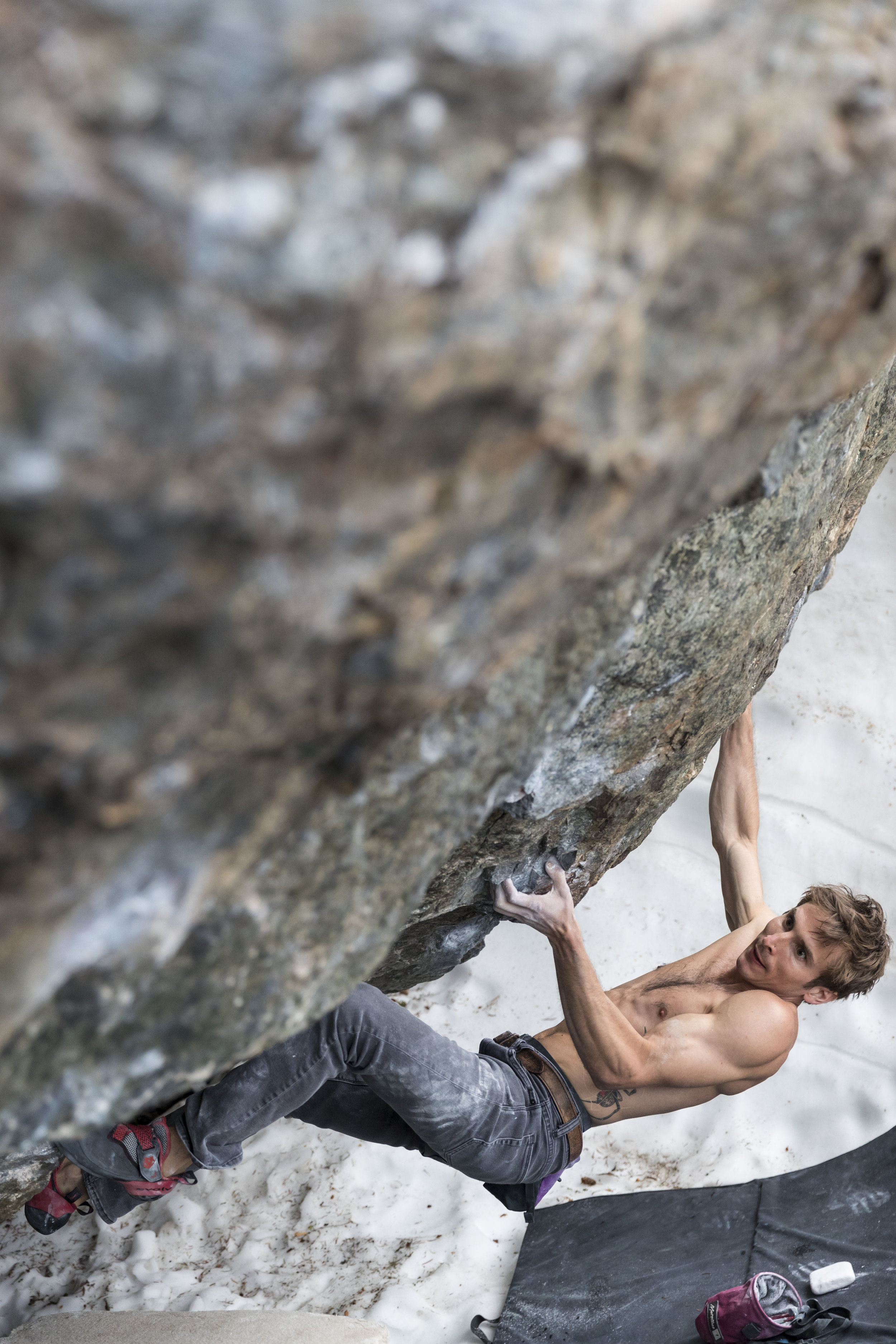 Daniel Woods on Aslan (V14/8B+) in Lower Chaos Canyon of Rocky Mountain National Park.