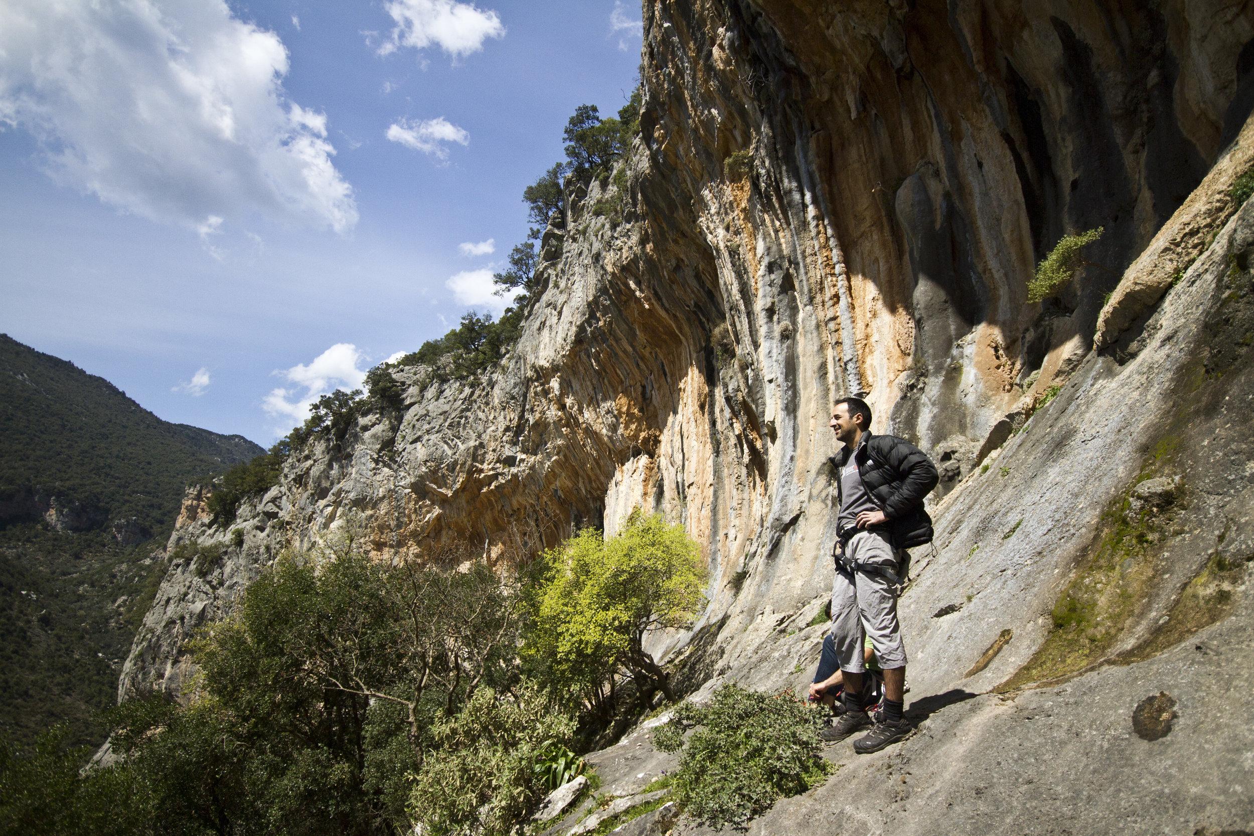 Georgios enjoying the view of Greek cliffs.