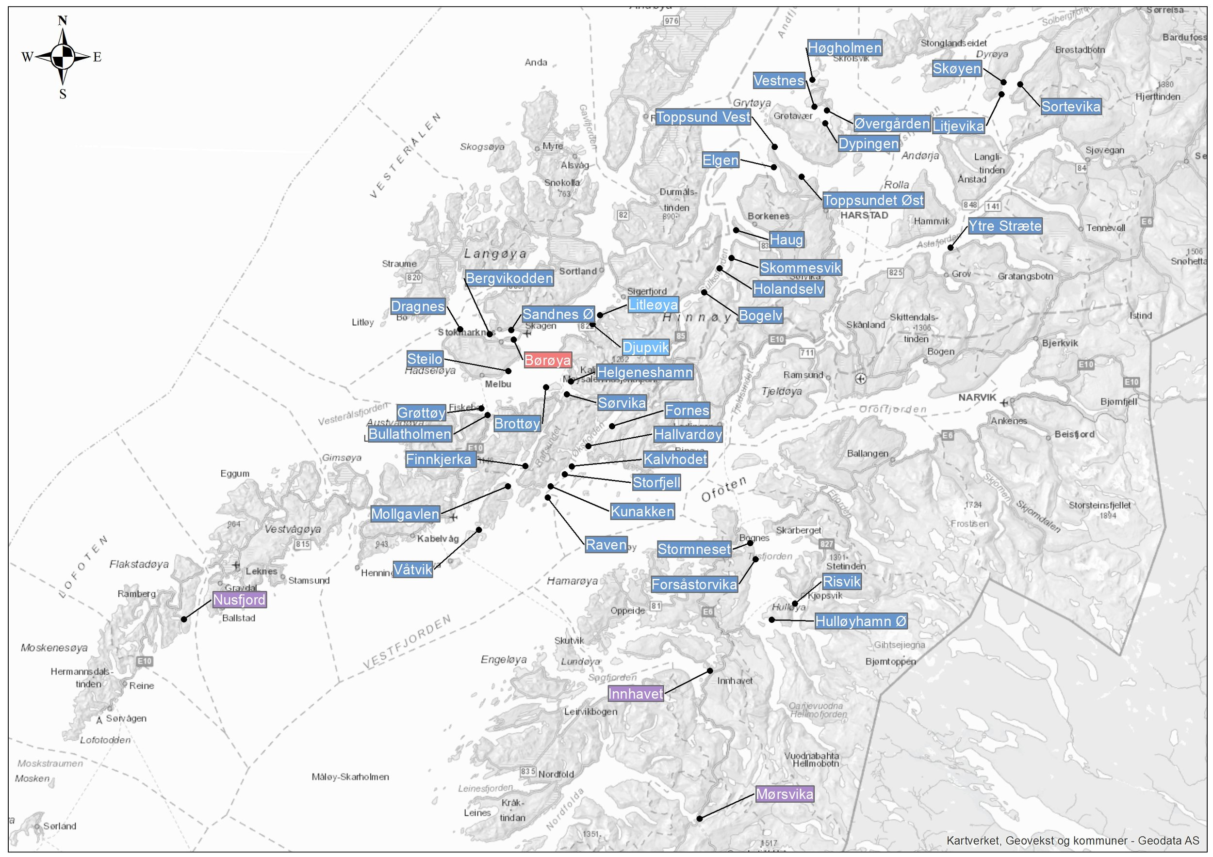 Nordlaks' aquaculture sites. Blue: aquaculture farms in the sea. Purple: acuaculture sites on land (smolt). Red: Main office and processing. Lighter blue: Farms for tourist/visiting and educational purposes. Click to enlarge.