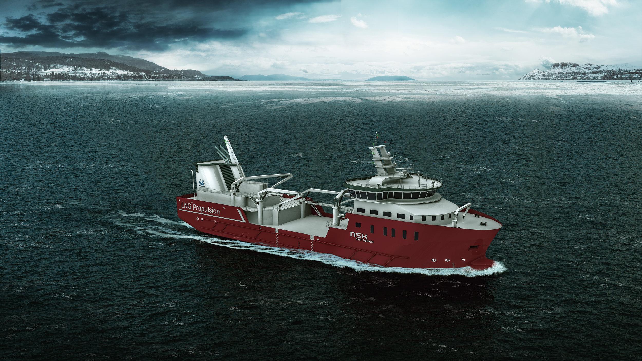 Illustrasjon av Nordlaks sin nye brønnbåt