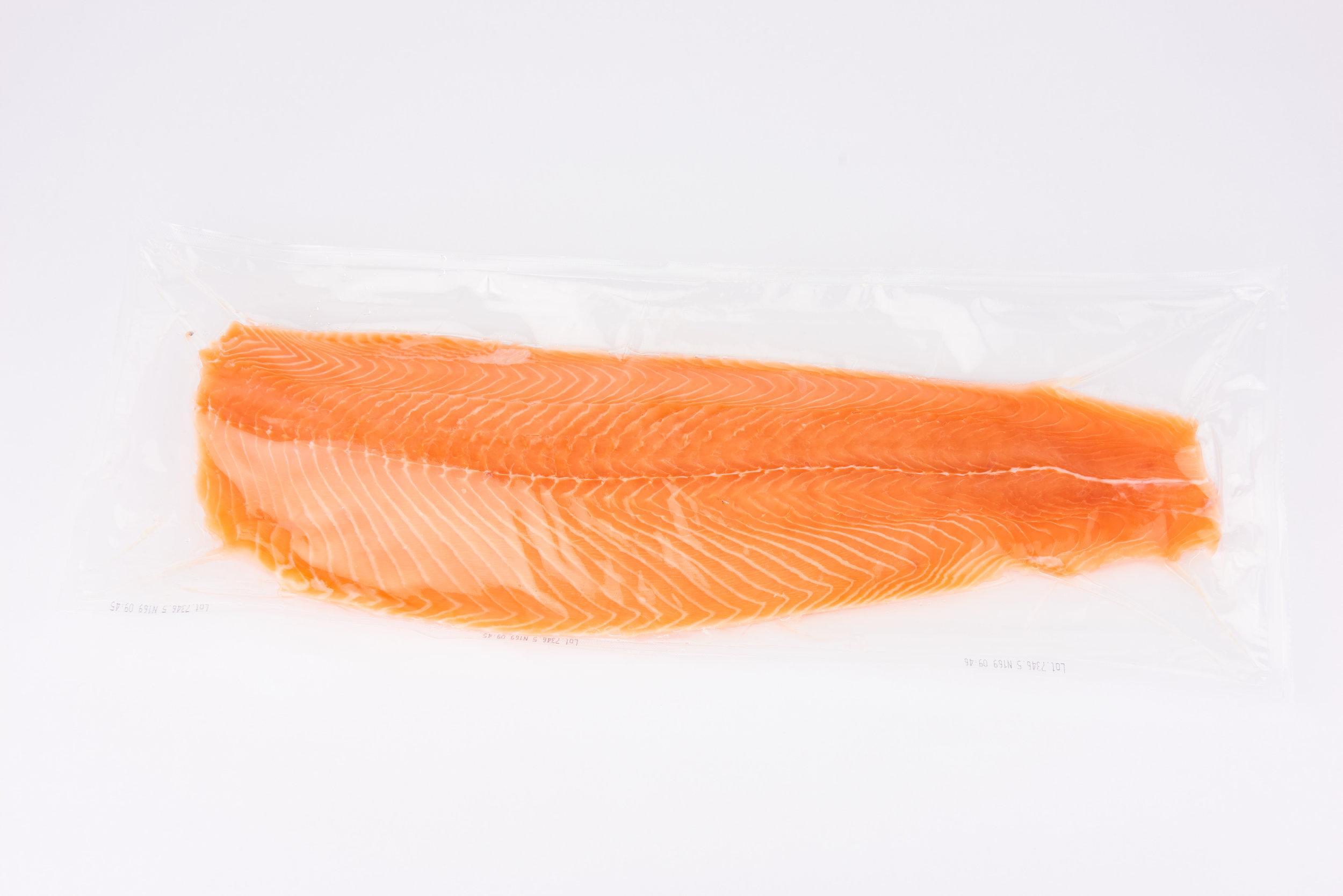 Whole fresh fillet (IVP)   A-E trim, boneless, individually vacuum packed (IVP), graded sizes.