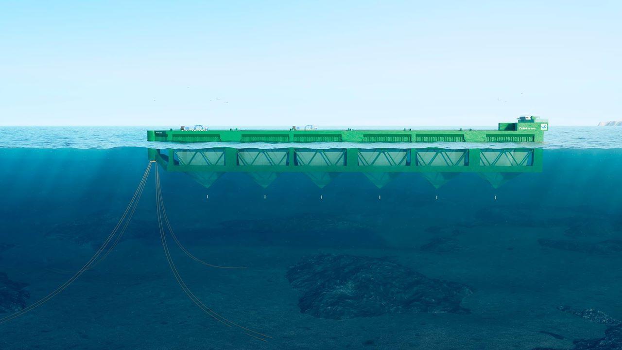 Den stasjonære Havfarmen ankommer Hadsel og Vesterålen våren 2020. Den vil åpne nye muligheter for Nordlaks og vil bidra til å løse utfordringer knyttet til areal, lakselus og biologisk belastning. Illustrasjon: Nordlaks/NSK Ship Design/Bennett