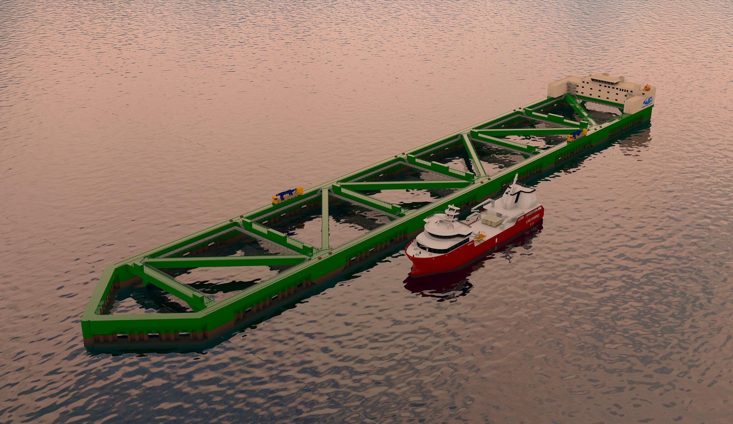 Ilustrasjon av den første Havfarmen til Nordlaks. Nordlaks/NSK Ship Design.