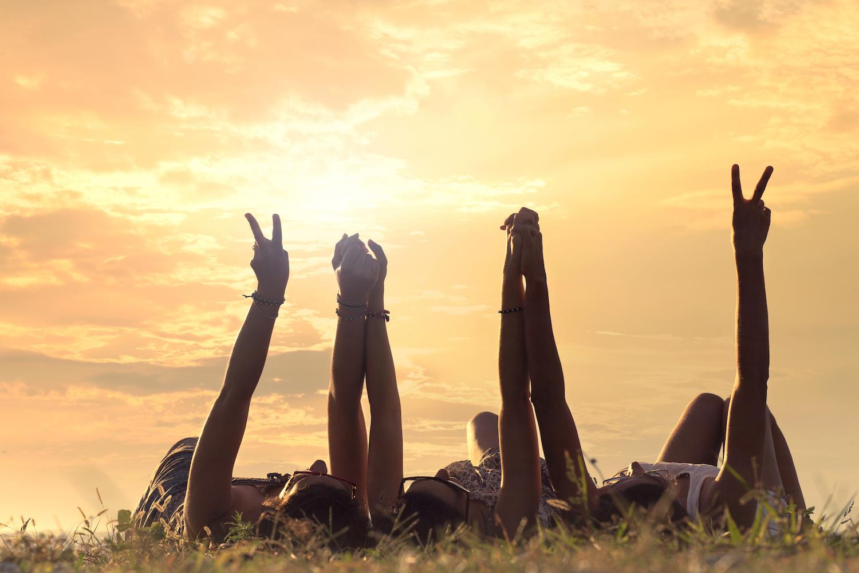 sunset women peace