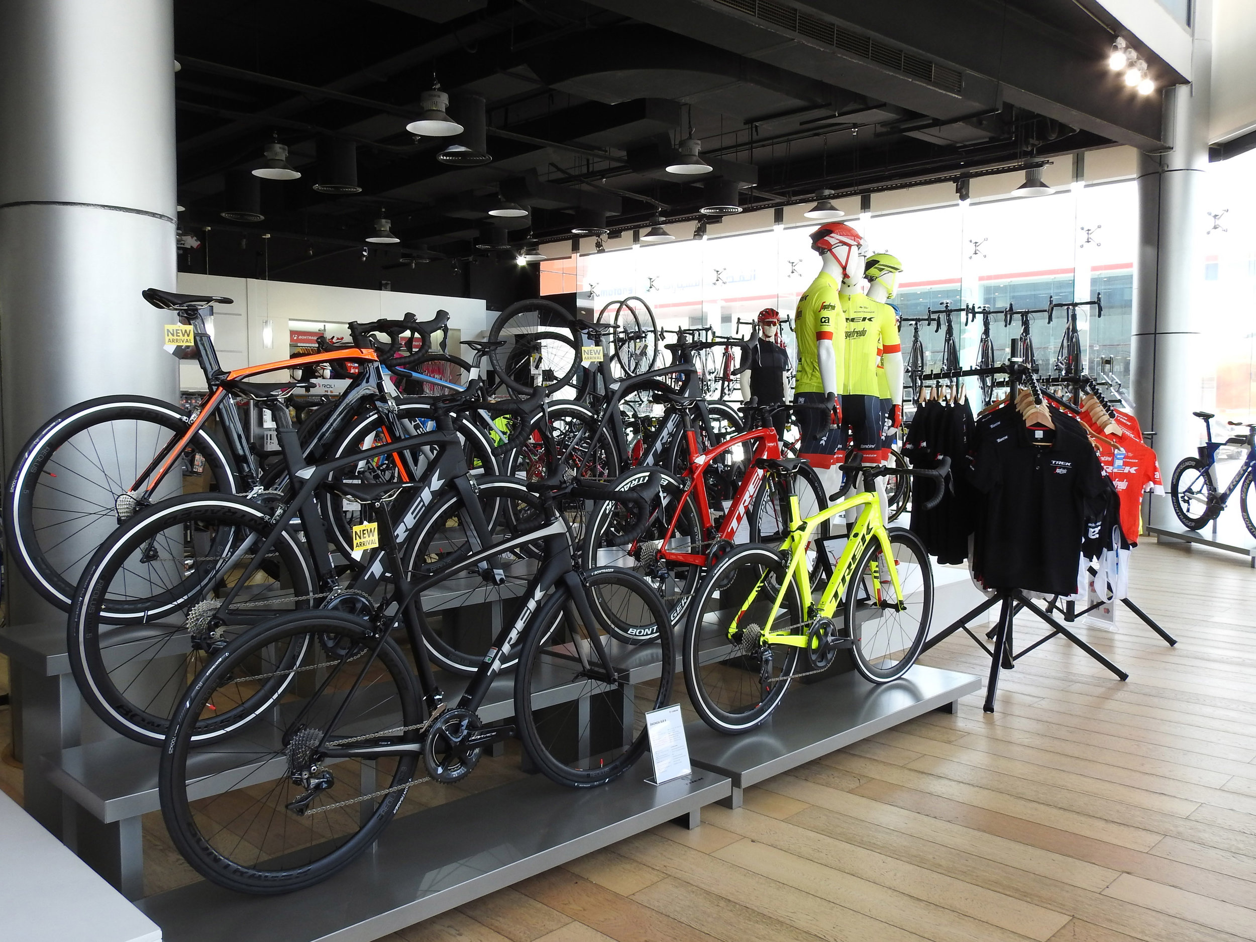RETAIL    Trek Bicycle Store Sheikh Zayed Road store is a fully equipped bicycle store including Sales, Service, Precision Fit Studio and more quality brands.  SHEIKH ZAYED ROAD, AL QUDRA CYCLING TRACK, ALKON