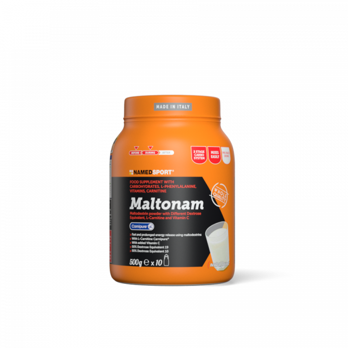 Maltonam -  Maltodextrin-based formulation to provide fast and long-lasting energy.  A blend of simple and complex carbohydrates, useful for supplementary energy, with the addition of high quality Carnitine (Carnipure)®, L- phenylalanine, Vitamin C and B-group Vitamins, essential to optimise energy metabolism.