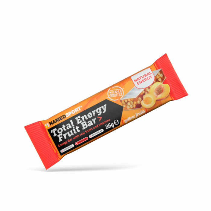 Total Energy Fruit Bar  is a tasty energy bar with puffed rice and real fruit, featuring vitamins B1, B6 and vitamin C, specifically developed to promote fast energy recovery in pre- and during workout.
