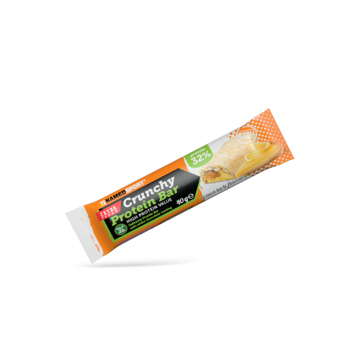 Crunchy Protein Bar - Delicious 32% protein bar   A crunchy chocolate layer covers a high biological value blend of isolated soy beans proteins and whey protein concentrate to help maintain muscle mass.