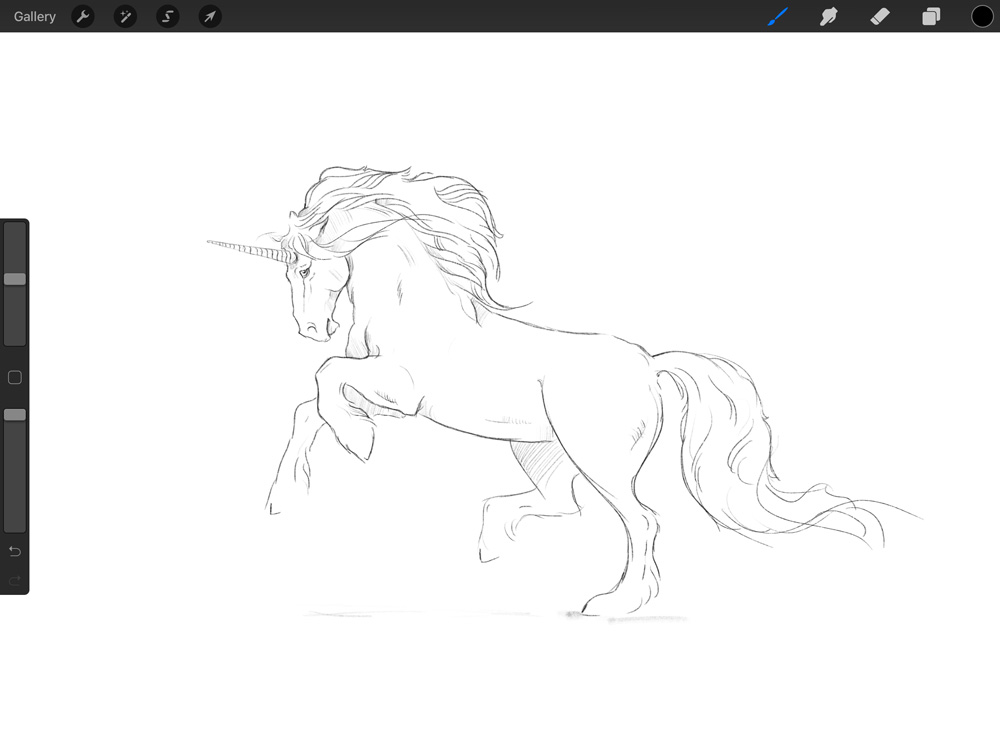 The Unicorn is sketched first on Procreate on my iPad. The request was for a non-traditional Unicorn, with a heavier Friesian style look, thick mane, feathers and not the usual whiplash tail.