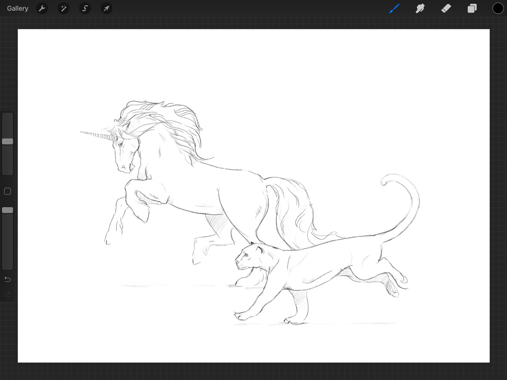 Now the jaguar is sketched on a separate layer so I can easily change his placement in the composition.