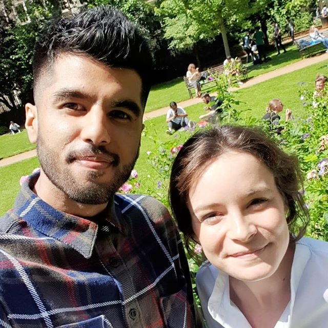Meet the team. The Biophysicist ⚛ and the Pharmacist 💊. Enjoying some rare London sunshine.  https://www.alicepyne.com/bio https://www.alicepyne.com/kavit-main  #afm #biophysics #research #bio #science #stem #physicist #pharmacist #interdisciplinary
