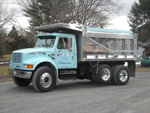 This truck carries a minimum of 3 yards for delivery. Our maximum for Dynagro Soils and Crushed Stone products is 9 cubic yards. Stone Dust, Base Material, Shale, Round Stone is 8 yards. Landscape Mulch and Dynamulch maximums are 14 yards. ©Croswell Enterprises, LTD 2008-2019