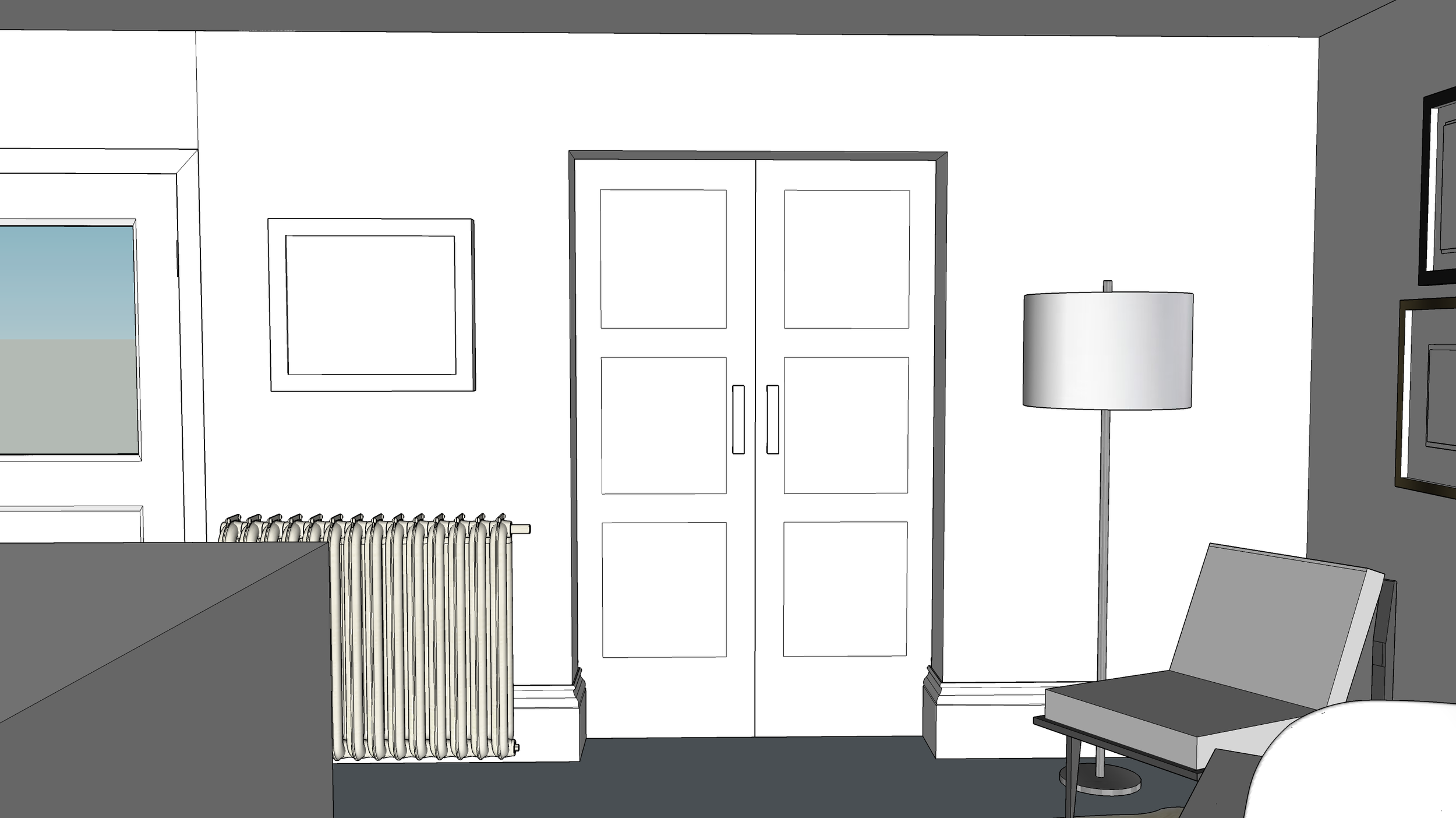 3D drawing showing the new sliding doors from the kitchen