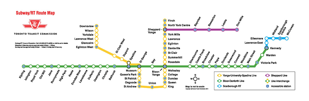 For schedule & fare information call 416-393-4636 or visit the TTC website.