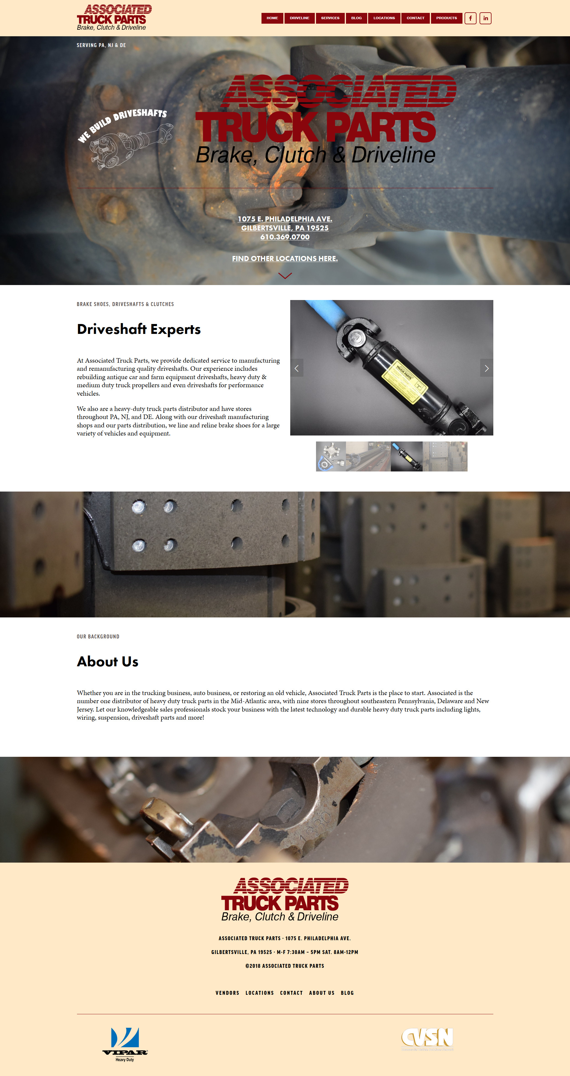 Screenshot of Associated Truck Parts' website