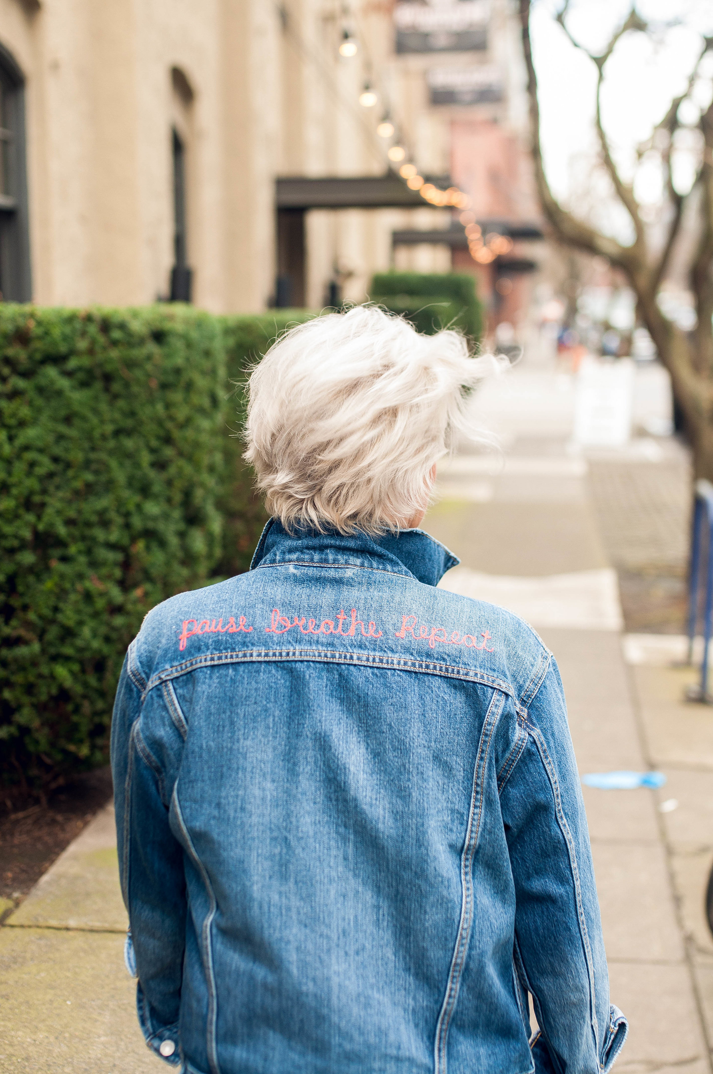 """Suzanne Bigelow in """"Pause. Breathe. Repeat."""" Jean Jacket"""