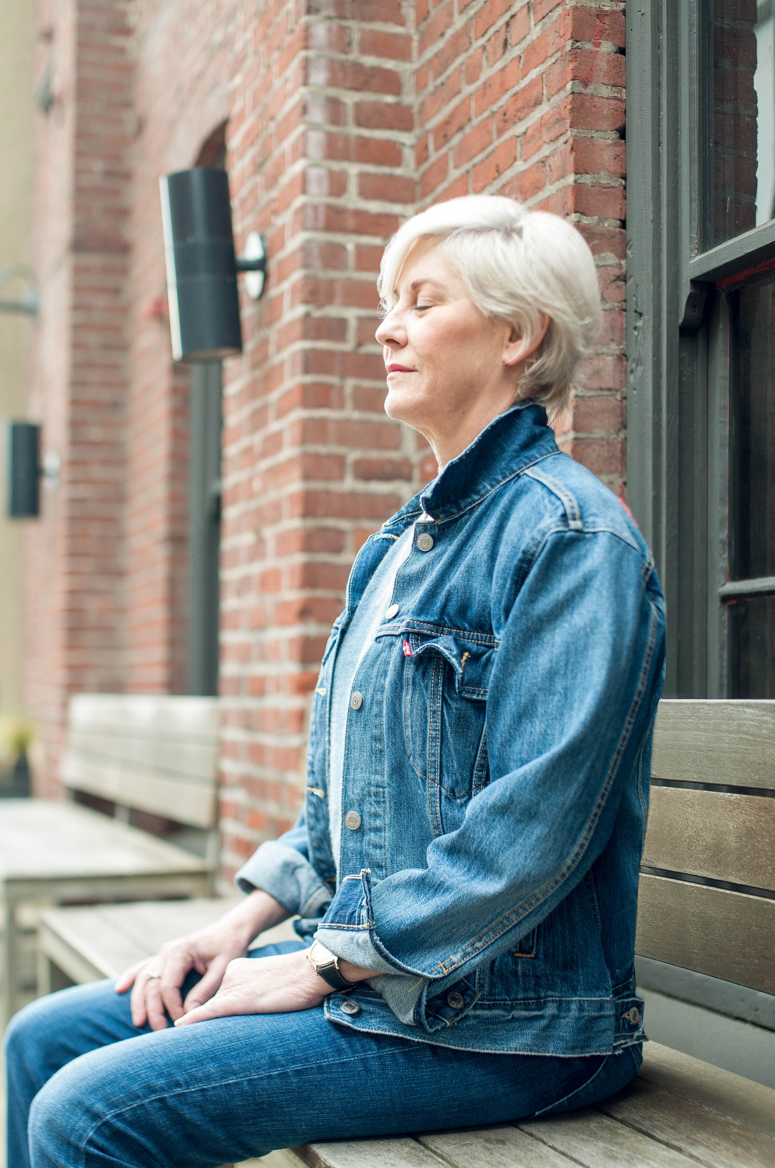 Suzanne Bigelow Mindful Breathing on Bench