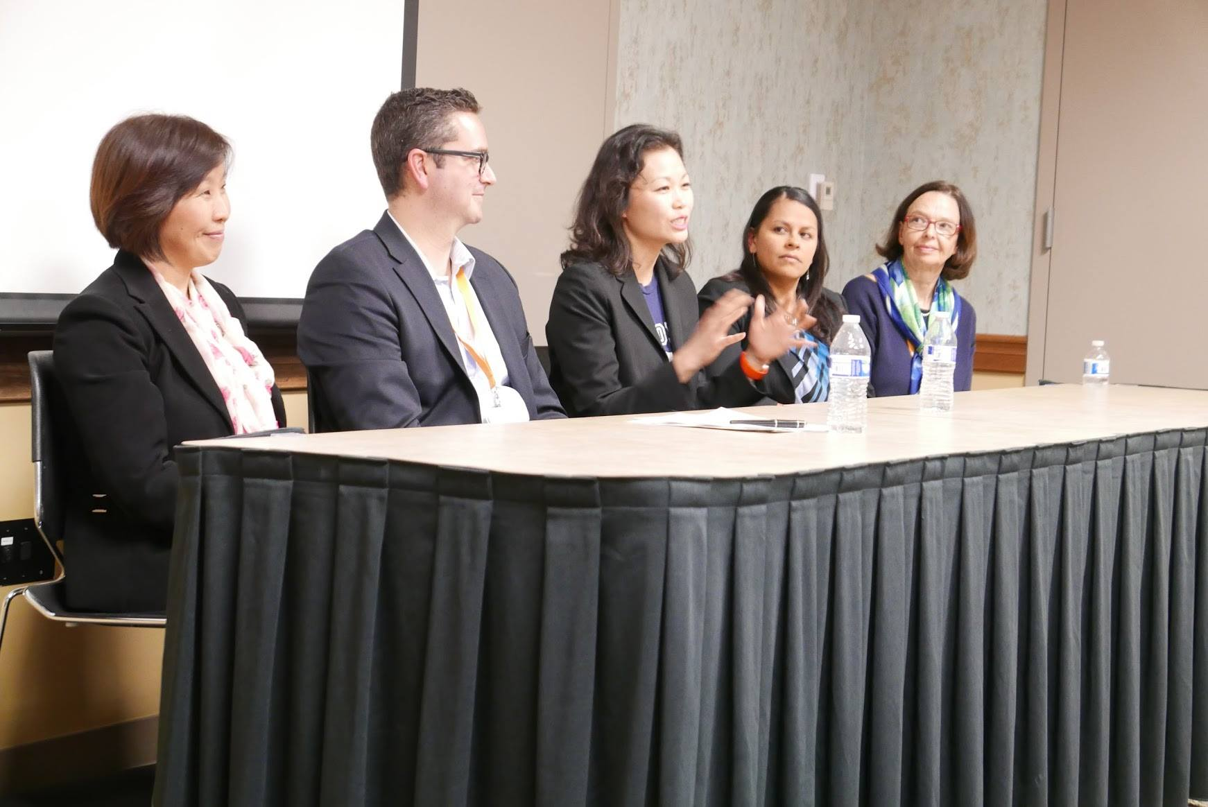 Speaking on bilingualism panel at the Orange County private school association, 2o16.