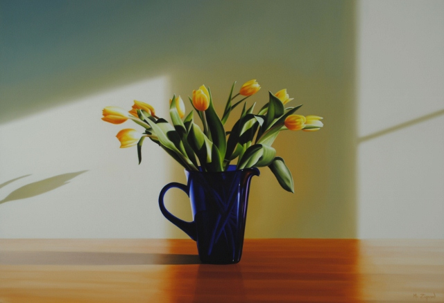 Yellow Tulips in Blue Pitcher
