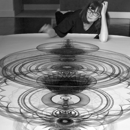 Mary Wagner with Resonance Drawing. Photo ©Mary Wagner